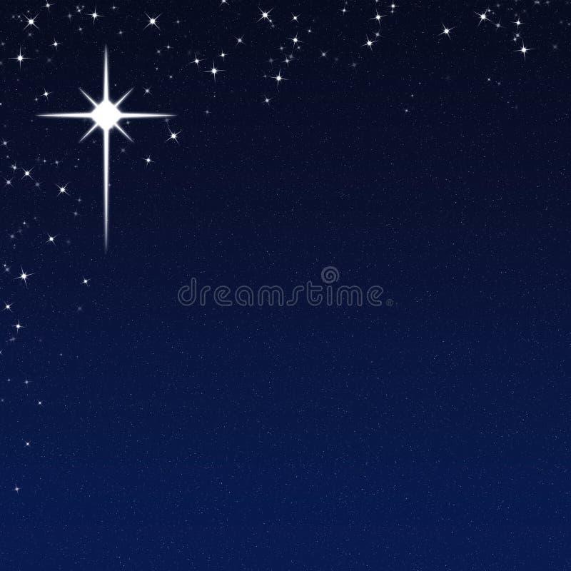 Boże Narodzenie gwiazda na Gwiaździstym nocnego nieba tle