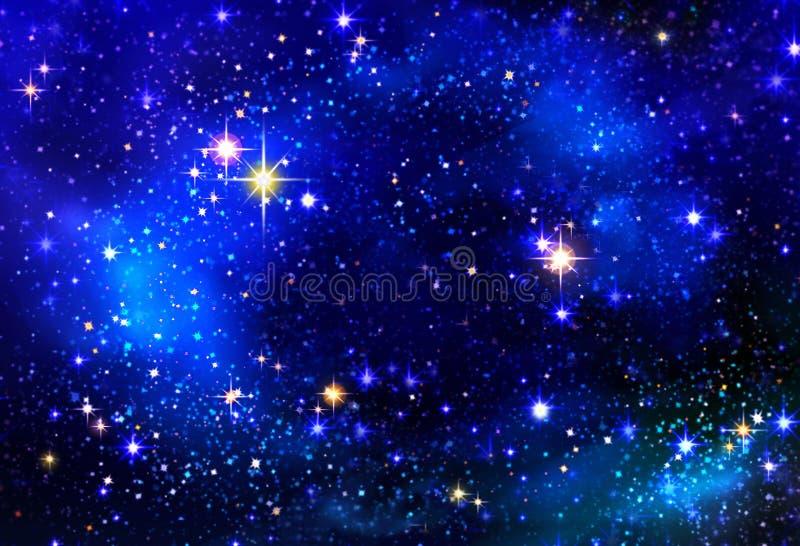 Boże Narodzenie gwiazda w nocnym niebie ilustracji