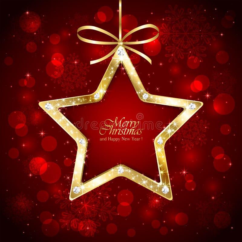 Boże Narodzenie gwiazda z diamentami na czerwonym tle ilustracja wektor