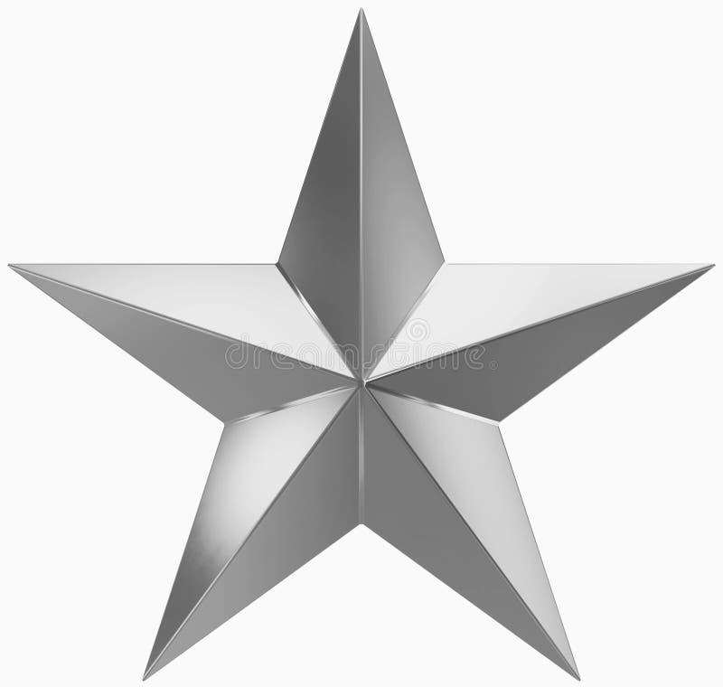Boże Narodzenie gwiazdy srebro odizolowywający na bielu - 5 punktów gwiazda - ilustracji