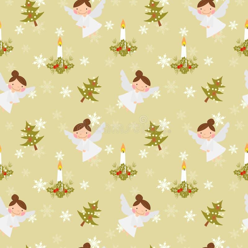 Boże Narodzenie kąty i świeczka bezszwowy wzór ilustracji