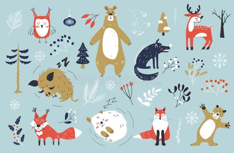 Boże Narodzenie komplet ze słodkimi zwierzętami Postacie z okresu zimowego Zwierzęta leśne wypatroszone ręcznie Rysunek świąteczn royalty ilustracja