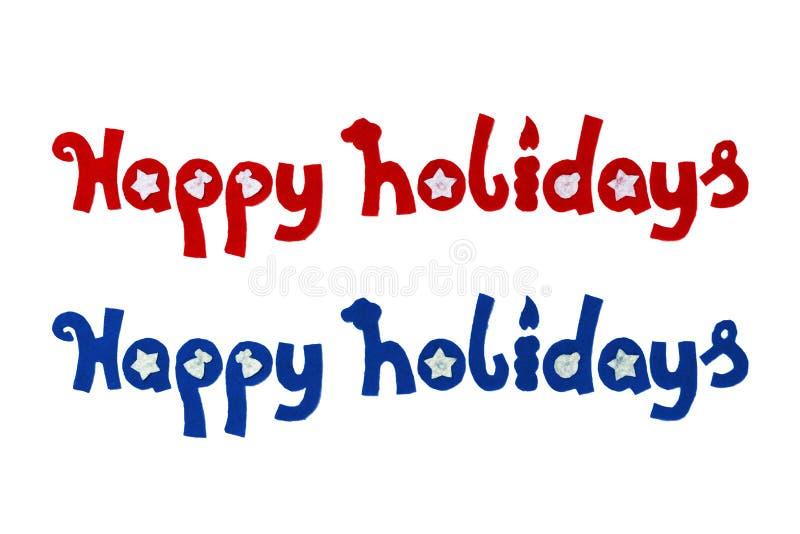Boże Narodzenie listów Szczęśliwi wakacje od filc Dla rodzinnych wakacji, Xmas lub nowego roku na bielu, obrazy royalty free
