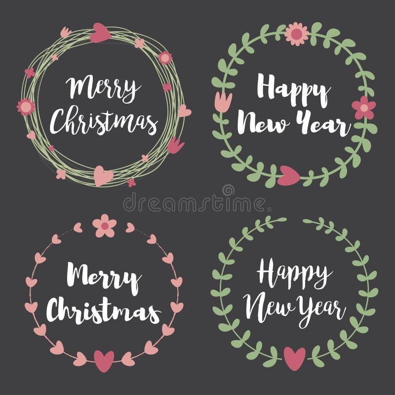 Boże Narodzenie odznaki i etykietki Set kwiecista wianek rama dla Merr ilustracja wektor