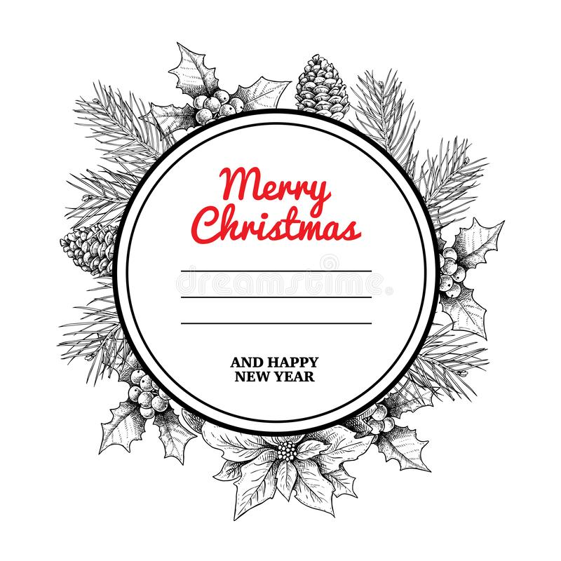 Boże Narodzenie okręgu wianek z ręki rysować zim roślinami i rama Sosna rozgałęzia się, sosnowi rożki, jemioła i poinsecja, Wielk ilustracja wektor