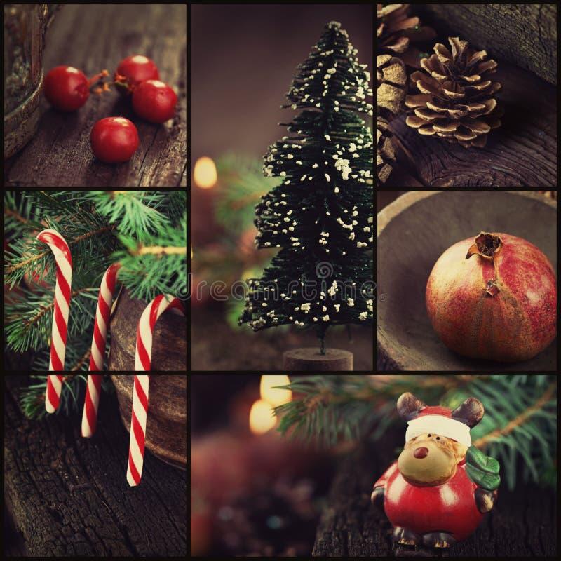 Boże Narodzenie ornamentów kolaż obrazy stock
