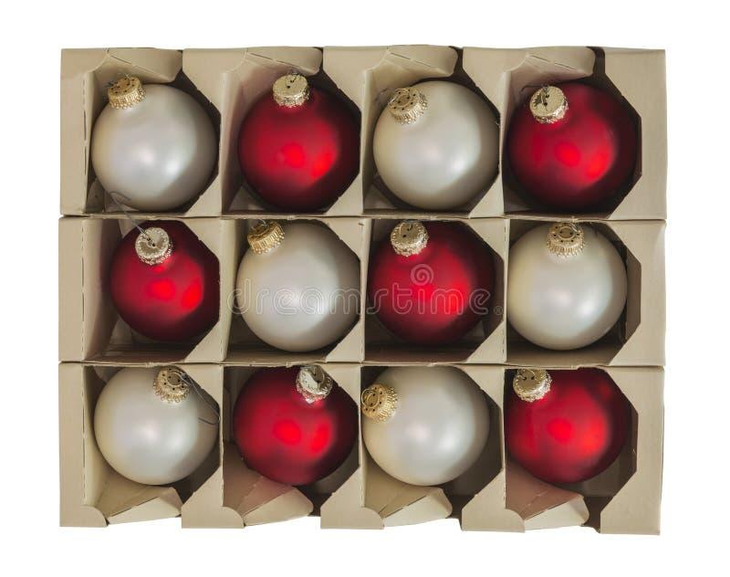 Boże Narodzenie ornamentu dekoracje w pudełku Odizolowywającym fotografia royalty free