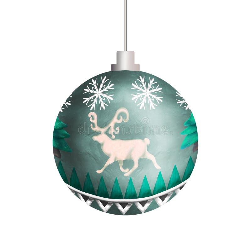 Boże Narodzenie ornamentu wzoru 3D sfery piłki zabawka odizolowywająca na bielu ilustracja wektor
