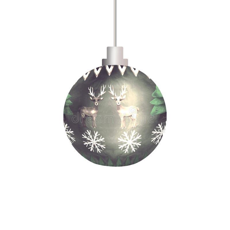 Boże Narodzenie ornamentu wzoru 3D sfery piłki zabawka odizolowywająca na bielu royalty ilustracja