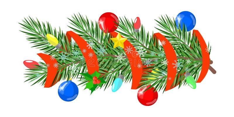 Boże Narodzenie ornamenty dekorujący z gałąź jedlinowe piłki grają główna rolę ilustracja wektor