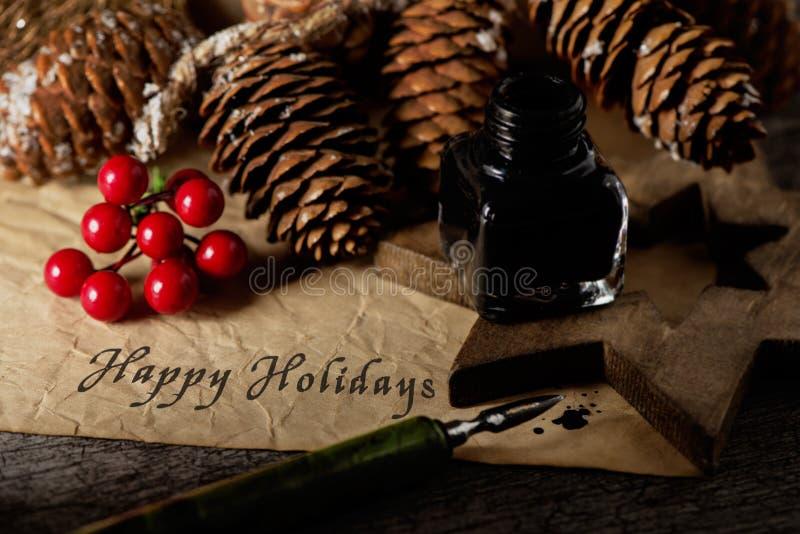 Boże Narodzenie ornamenty i tekstów szczęśliwi wakacje obraz royalty free