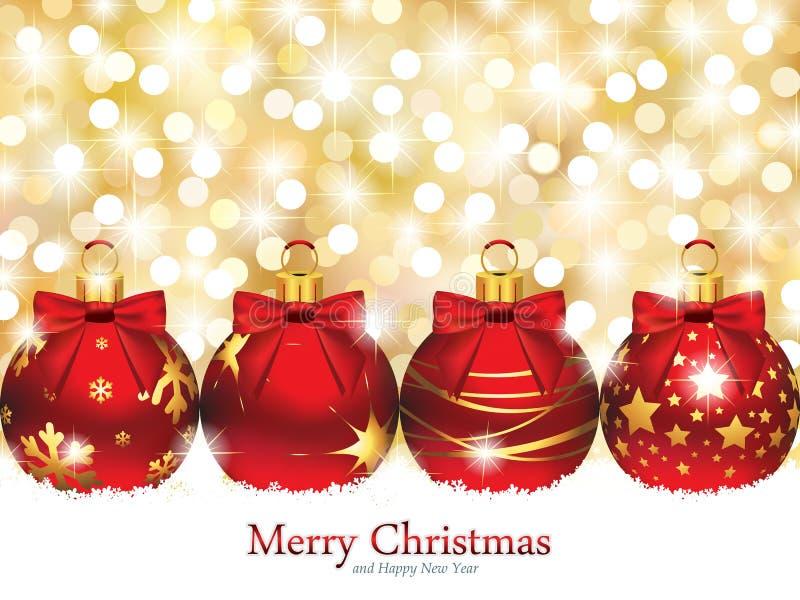 Boże Narodzenie ornamenty przed Defocused światłami royalty ilustracja