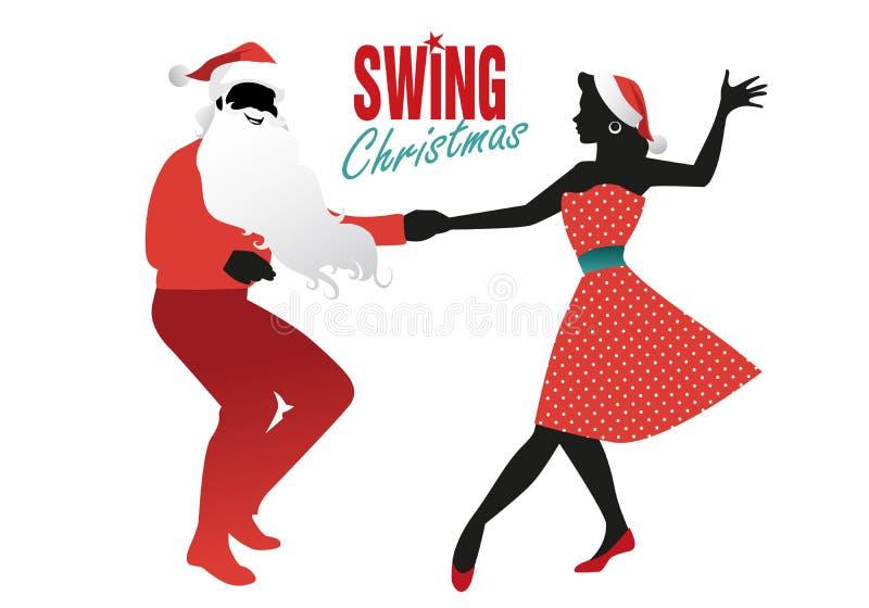 Boże Narodzenie pary tana huśtawki, rockowego lub lindy chmiel, royalty ilustracja