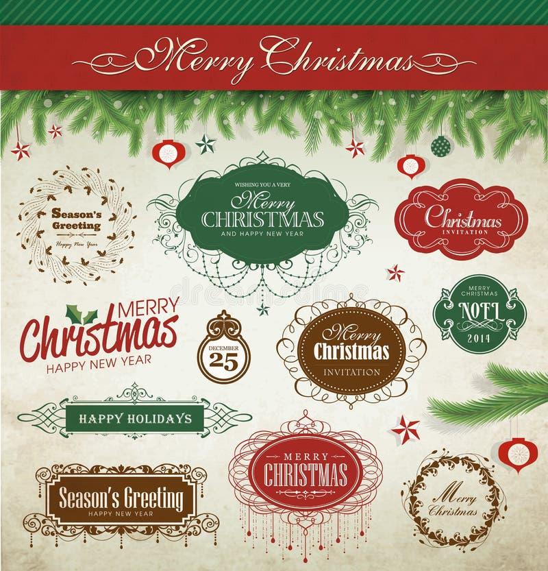 Boże Narodzenie projekta elementy [Nawracający] ilustracja wektor