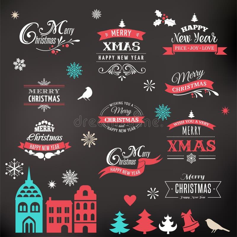 Boże Narodzenie projekta kolekcja, literowanie i typograficzni elementy, royalty ilustracja