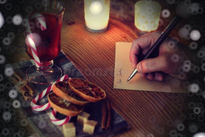 Boże Narodzenie ręki writing opowieść zdjęcie stock