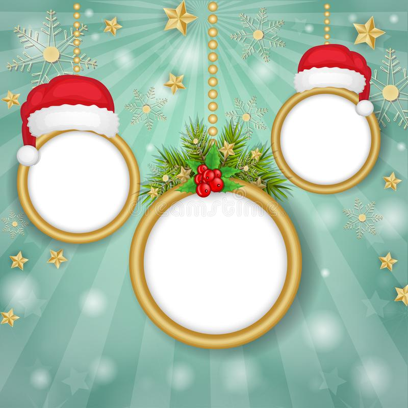 Boże Narodzenie ramy nad płatka śniegu tłem zdjęcie stock