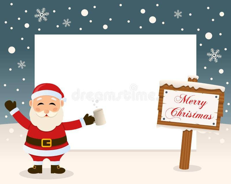 Boże Narodzenie ramy Szyldowy & Opiły Święty Mikołaj royalty ilustracja