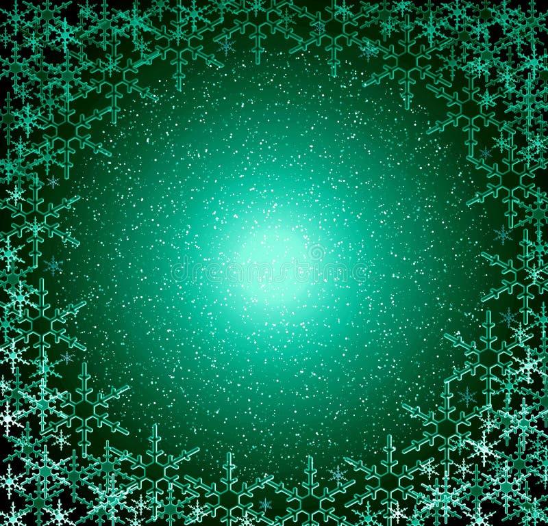 boże narodzenie ramy zielone śnieg ilustracji