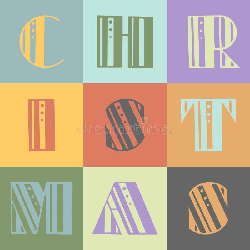 boże narodzenie rocznik liter ilustracja wektor