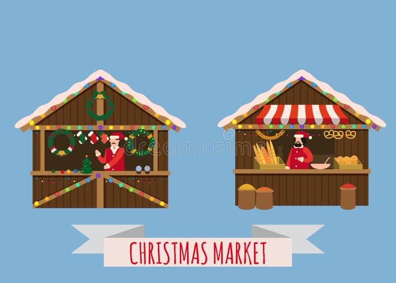 Boże Narodzenie rynek opóźnia, baldachimu sprzedawca z z nowy rok dekoracjami, prezenty Xmas piekarnia, chleb robi zakupy z bagel ilustracja wektor