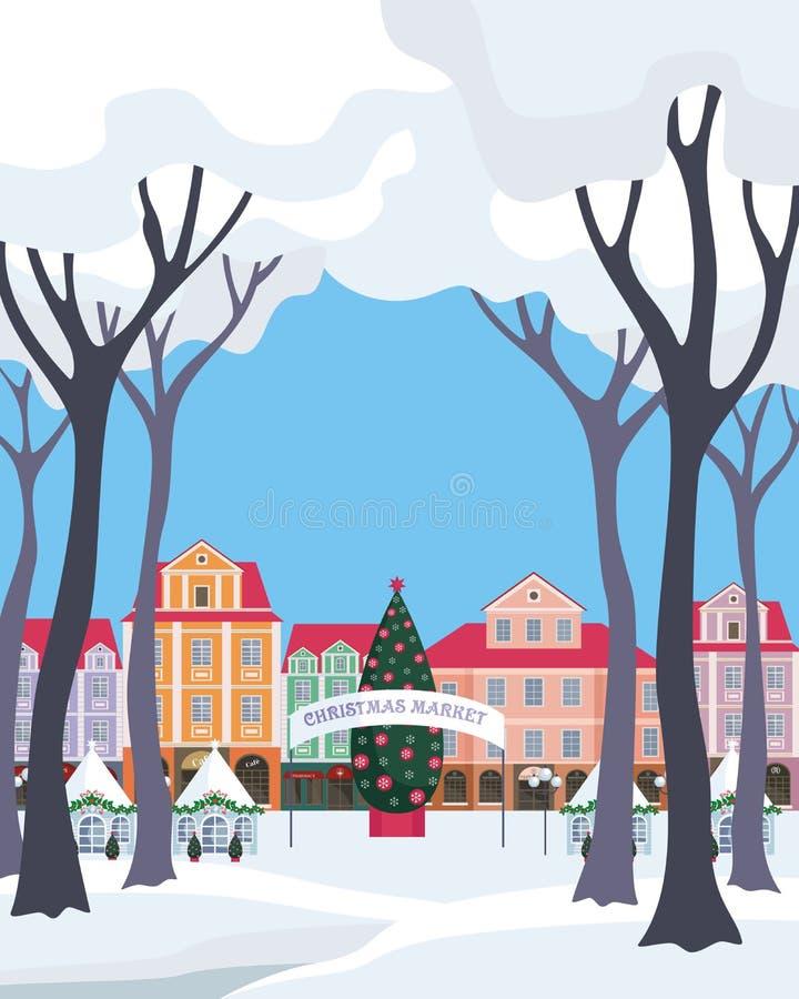 Boże Narodzenie rynek w starym miasteczku ilustracji