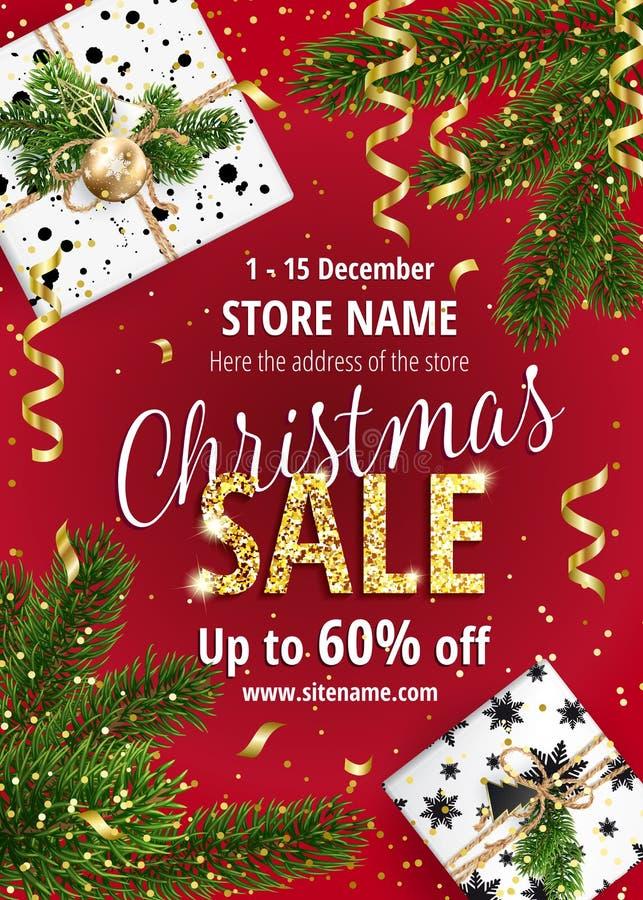 Boże Narodzenie sprzedaż Czerwony sztandar dla sieci lub ulotki ilustracja wektor