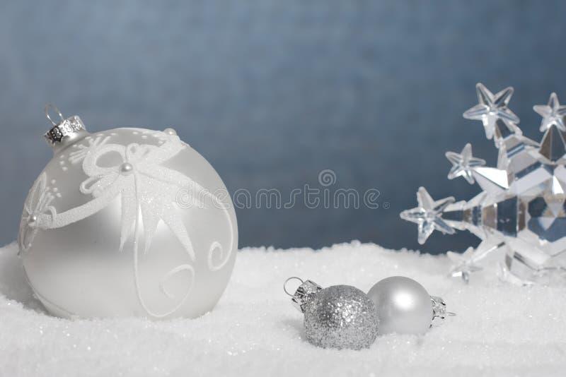 Boże Narodzenie srebny i błękitny pokaz obraz stock
