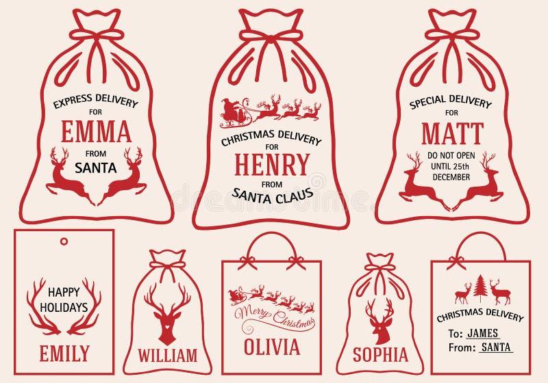 Boże Narodzenie torby i etykietki, wektoru set ilustracji