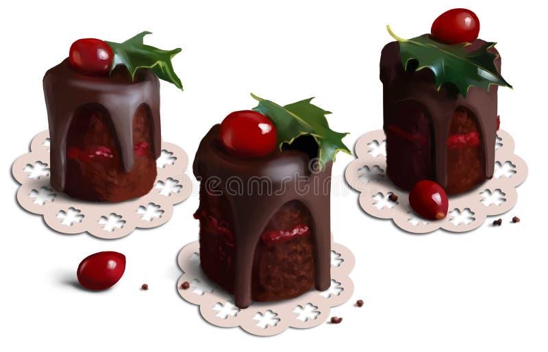 Boże Narodzenie torty royalty ilustracja
