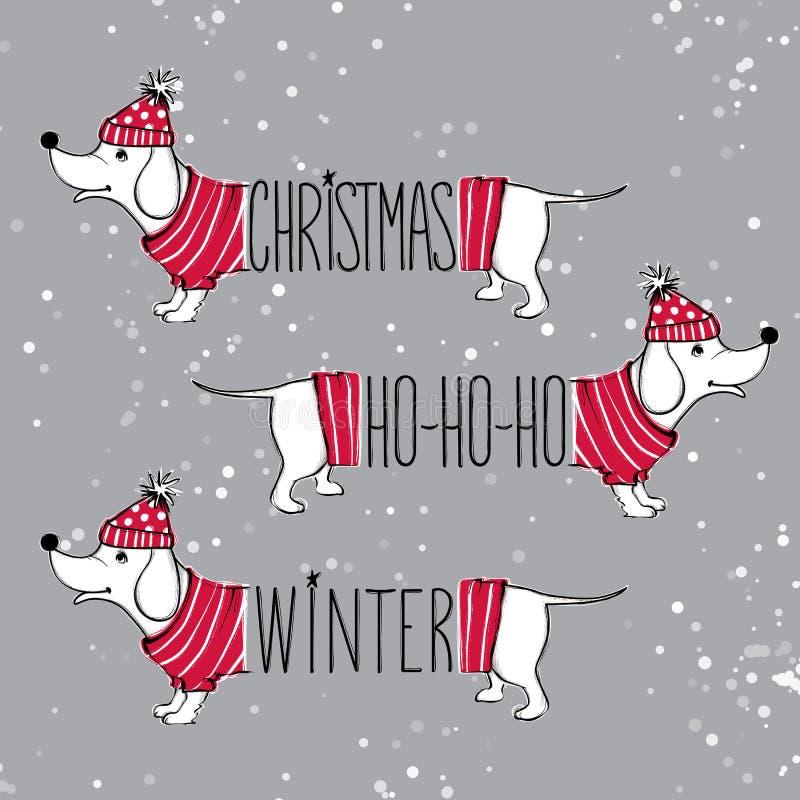 Boże Narodzenie ustawiająca ilustracja z śmiesznymi psami Ręka rysujący wektor po ilustracji