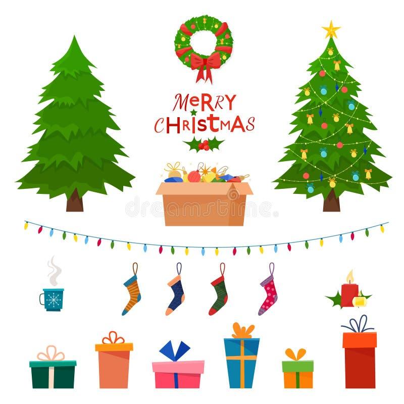 Boże Narodzenie ustawiający dowcip zimy dekoracyjni przedmioty - zabawki, prezentów pudełka, royalty ilustracja