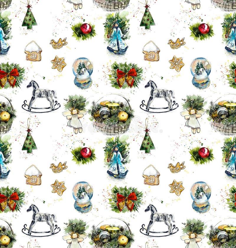 boże narodzenie w nowym roku ilustraci bezszwowy linowy Akwareli ręka rysująca ilustracja ilustracja wektor
