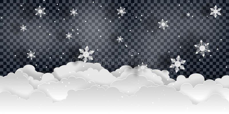 boże narodzenie w nowym roku Spada śnieżny wektor ilustracja wektor