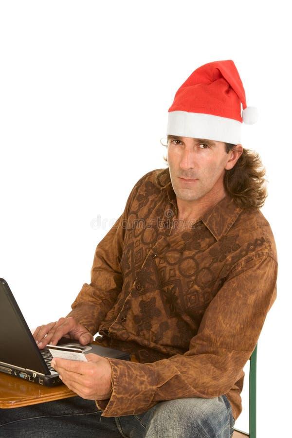 boże narodzenie w wieku laptopa człowiek bliskim online zakupy obraz royalty free