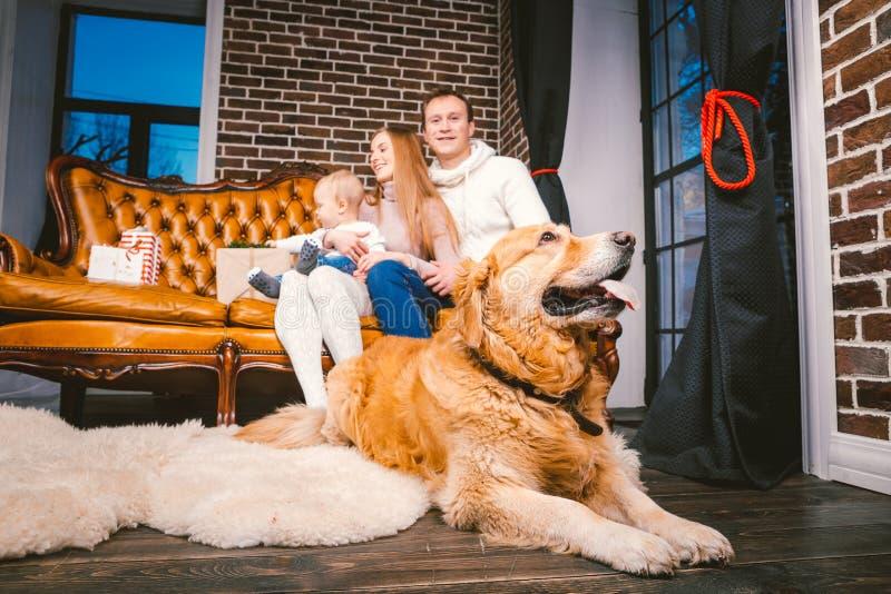 Boże Narodzenie wakacje w rodzinnej atmosferze i Trybowych wakacji mamy taty rodzinny caucasian młody syn i pies obraz stock