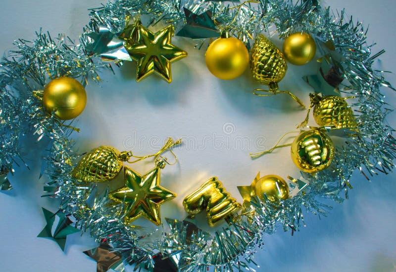 Boże Narodzenie wianek Nowego Roku lub bożego narodzenia mieszkania fotografii nieatutowy tło dla plakata, kartka z pozdrowieniam obrazy stock