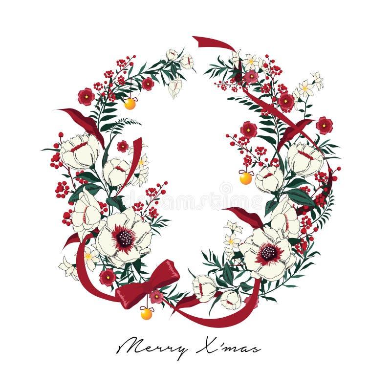 Boże Narodzenie wianek Poinseci roślina; Holly; czerwone jagody royalty ilustracja