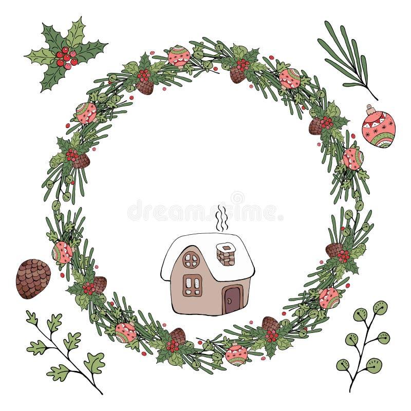 Boże Narodzenie wianek również zwrócić corel ilustracji wektora Odizolowywający na białym backgro royalty ilustracja