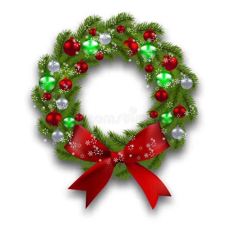 Boże Narodzenie wianek Zielona gałąź jedlinowy drzewo z czerwienią, srebrem, zielonymi piłkami i faborkiem na białym tle, Boże Na ilustracji