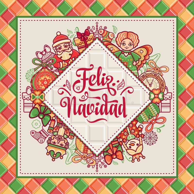 Boże Narodzenie wianek Zima bawi się - Święty Mikołaj, dziadek do orzechów, renifer, prezenta pudełko royalty ilustracja