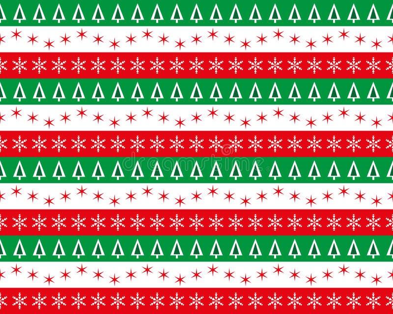 Boże Narodzenie wzory w czerwieni, zieleni i bielu, ilustracja wektor