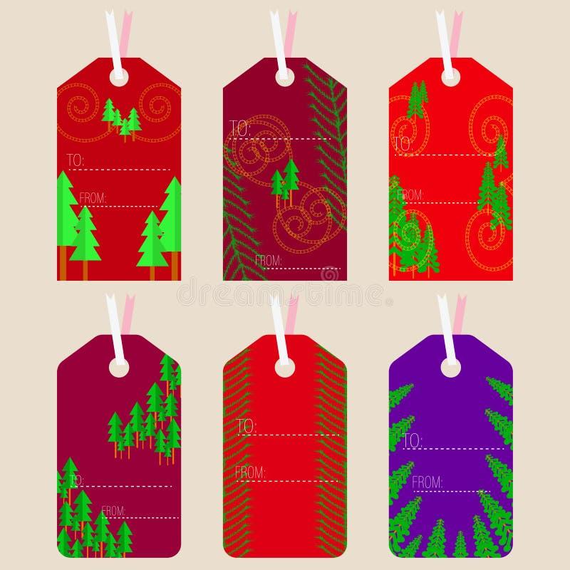Boże Narodzenie wzorzystości etykietki z czerwonych i błękita kolorami royalty ilustracja