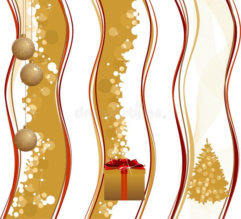 Boże Narodzenie złociści sztandary. royalty ilustracja