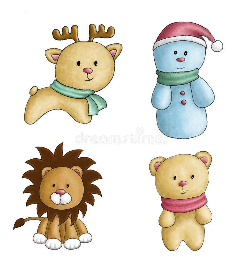 Boże Narodzenie zabawek akwareli zwierząt bałwan obraz stock
