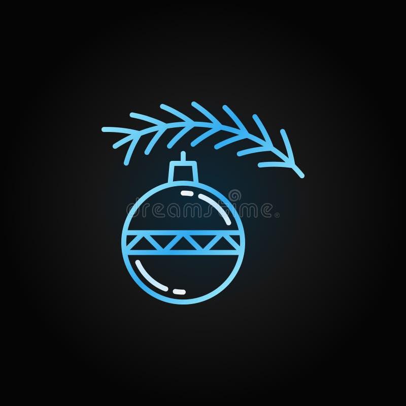 Boże Narodzenie zabawka z drzewną niebieska linia wektoru ikoną ilustracji