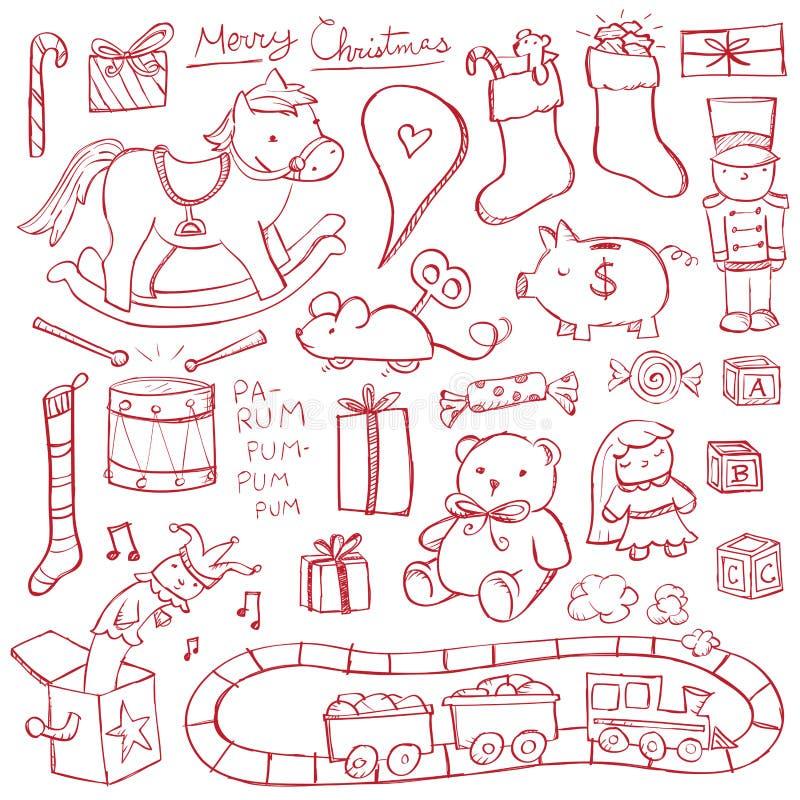 Boże Narodzenie zabawki Doodles ilustracji