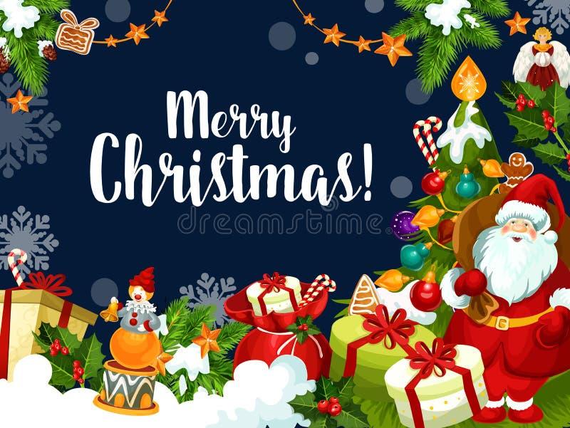Bożego Narodzenia życzenia Santa powitań wektoru karta ilustracja wektor