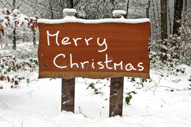 bożego narodzenia drewniany wesoło szyldowy śnieżny pisać zdjęcia royalty free