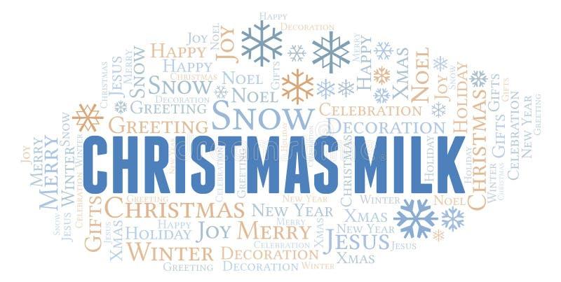 Bożego Narodzenia mleka słowa chmura ilustracja wektor